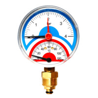 "Термоманометр Watts FR 818(TMAX) 6x1/2"" аксиальный, 0-6 бар"