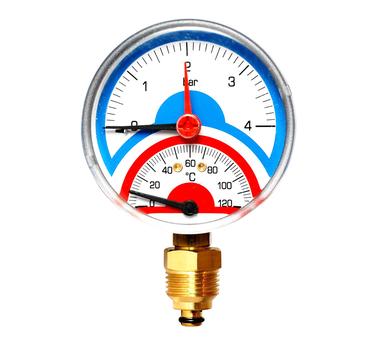 """Термоманометр Watts FR 818(TMAX) 2.5 аксиальный 1/2"""" x 2.5 бар (80мм)"""