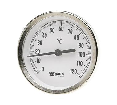 Термометр Watts F+R801(T) 63/100 биметаллический с погружной гильзой 63 мм, штуцер 75 мм